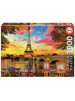 Puzle 3000 Posta de sol a París