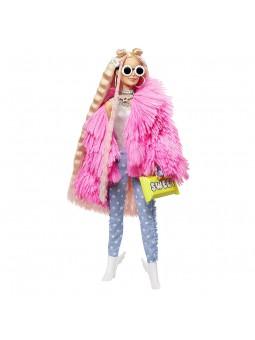 Barbie Nina Extra-3 amb un Tou Abric de Peluix Rosa, una Mascota Barreja de Unicorn i Porquet