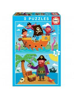 Set de 2 puzles de pirates de 20 peces