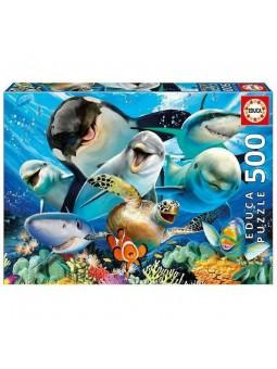 Puzle Selfie sota l'aigua de 500 peces