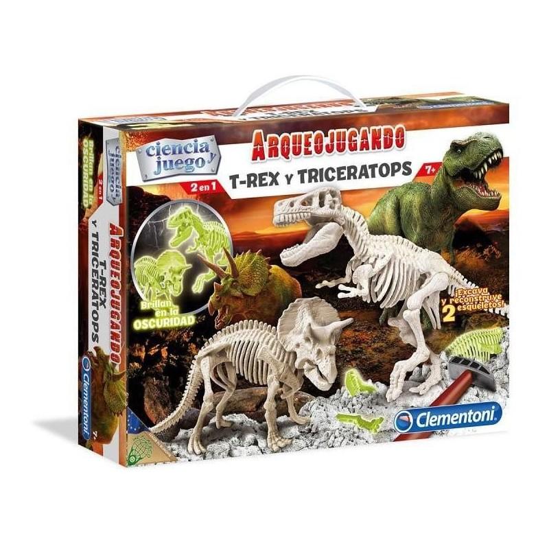 Arqueojugando T-Rex y Triceratops Flúor